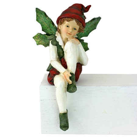 Holiday Magic Ornaments - Design Toscano Santa's Christmas Elves Shelf Sitter Statue: Leaf Wings, Multi, ELF ON THE SHELF - Lend holiday magic in your home this Christmas with our.., By DesignToscano