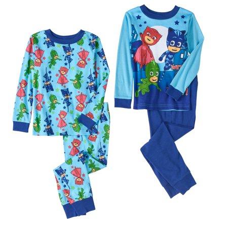 PJ Masks Toddler Boys' Cotton Tight Fit Pajamas, 4-Piece Set