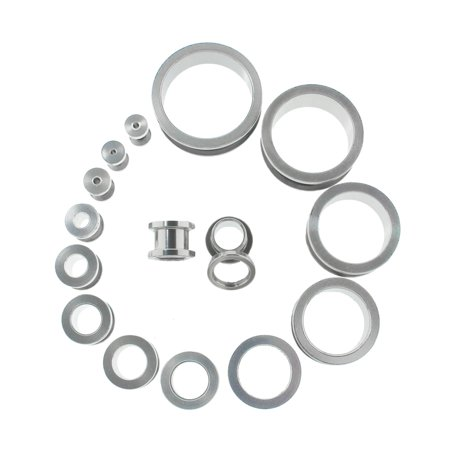 Lex Lu Pair Of Steel Tunnel Ear Plugs W Threaded Side 10g Thru 1 8 Gauge