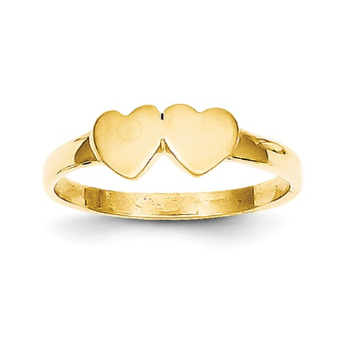 14k Yellow Gold Engravable Childs Double Heart Ring