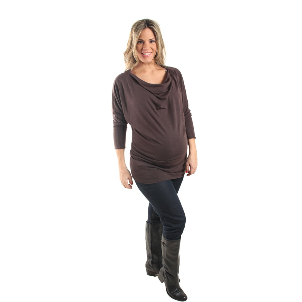 Love My Belly Women Brown Solid Color Cowl Neck Maternity Tunic