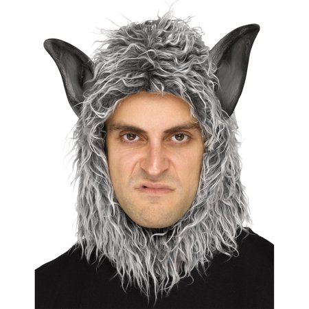 Grey Wolf Man Beast Mask Adult Halloween Accessory - Halloween Wolf Ears