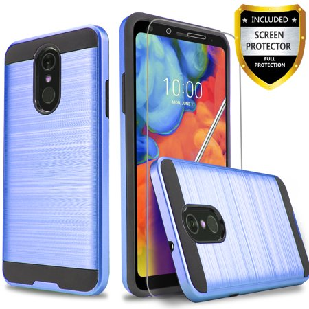 LG Stylo 4 Case, 2-Piece Style Hybrid Shockproof Hard Case Cover with [ Premium Screen Protector] And Circlemalls Stylus Pen [Purple] ()