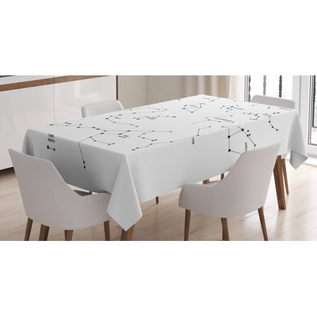 Constellation Tablecloth  Astronomic Theme Group Of Stars Names Classical Scientific Composition  Rectangular Table Cover For Dining Room Kitchen  52 X 70 Inches  Black And White  By Ambesonne