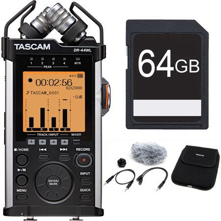Tascam Portable Recorder with XLR and Wi-fi DR-44WL Accessory Pack Bundle includes DR-44WL Portable Recorder, Accessory Pack and 64GB SDXC Memory Card