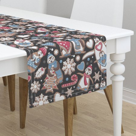 Table Runner Biscuits Chocolate Christmas Snowflakes Penguin Cotton Sateen