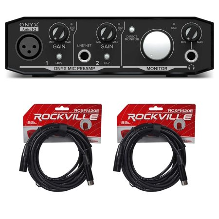 Mackie Onyx Artist 1.2 2x2 USB Audio Recording Studio Interface + (2) XLR Cables