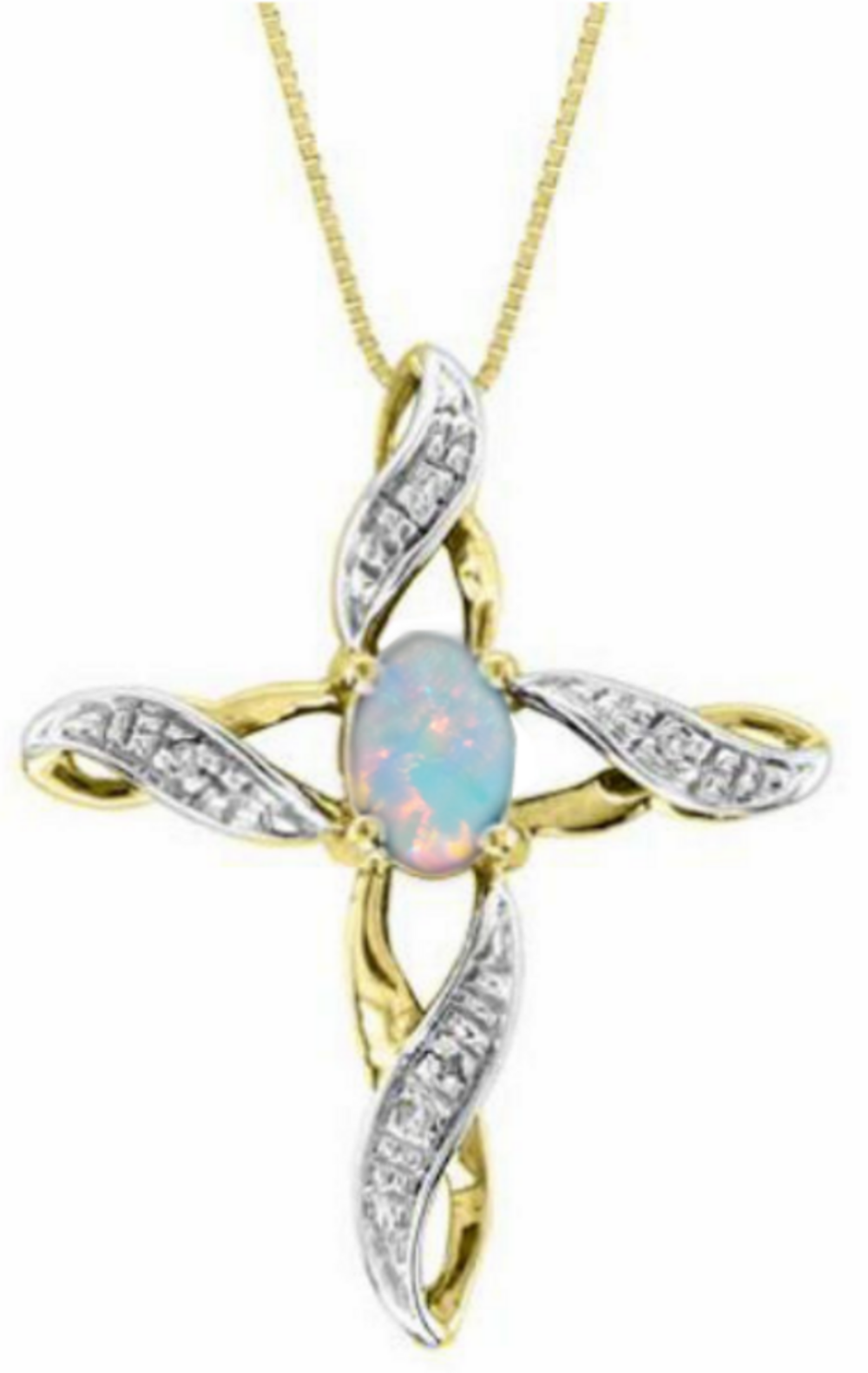 Diamond & Opal Cross Pendant Necklace Set In White Gold Plated or Yellow Gold Plated Silver by Elie Int.