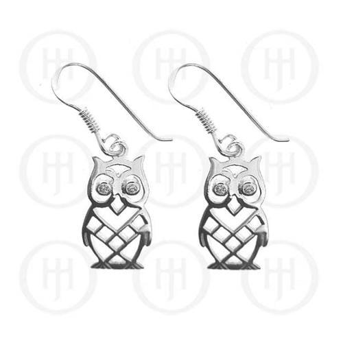 Doma Jewellery MAS06436 Sterling Silver - Owl CZ Dangle Earrings -ER-1055