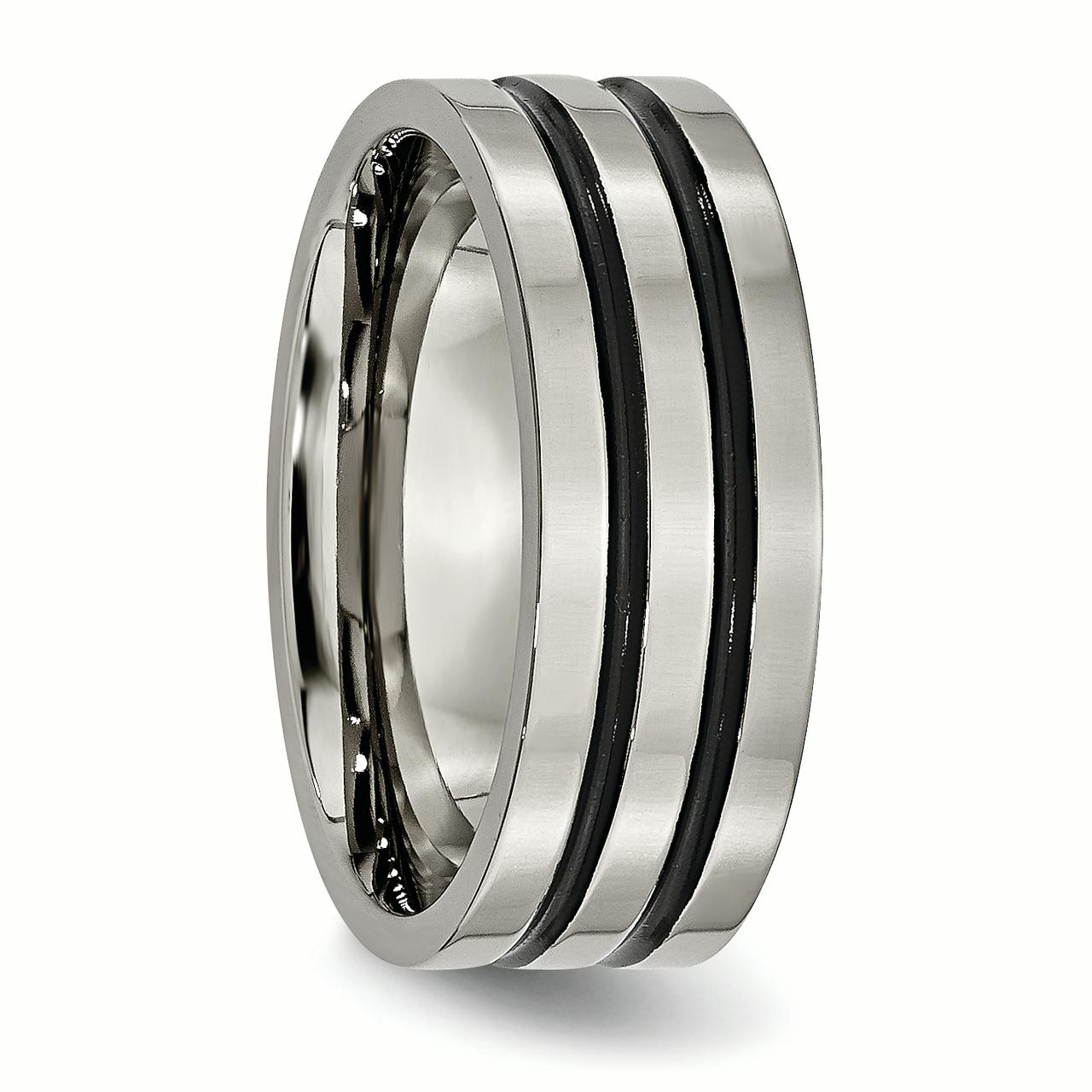Titanium Enameled Grooved Flat 8mm Wedding Ring Band Size 10.00 Fashion Jewelry Gifts For Women For Her - image 4 of 6