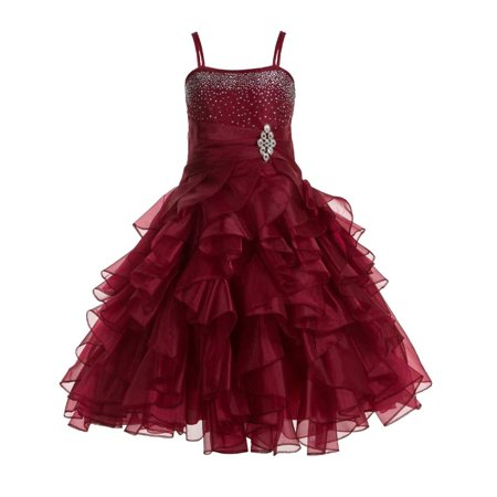 Ekidsbridal Wedding Satin Ruffles Organza Flower girl dress Elegant Pageant Birthday New 164S