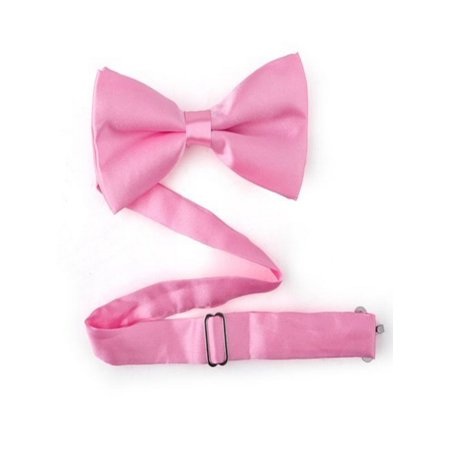 Breast Cancer Awareness Bows (TopTie Mens Solid Pink Satin Banded Bow Tie, Breast Cancer Awareness)