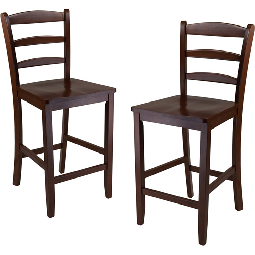 Ladder-Back Solid Wood Counter Stools, Set of 2