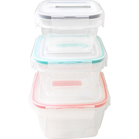Square Food Storage Container Set - Food Storage With Clip Vented Lid - Set Of 3