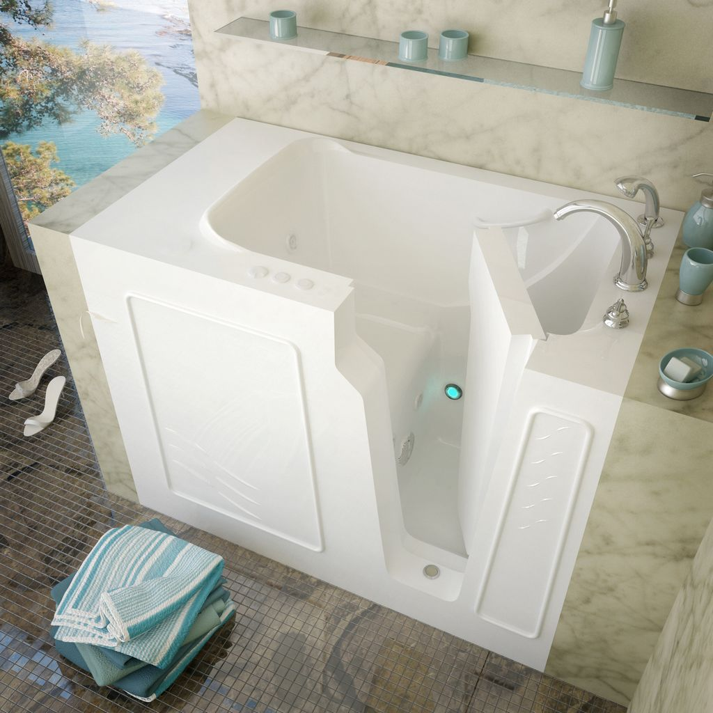 Meditub 29x52 Right Drain White Whirlpool Jetted Walk-In Bathtub
