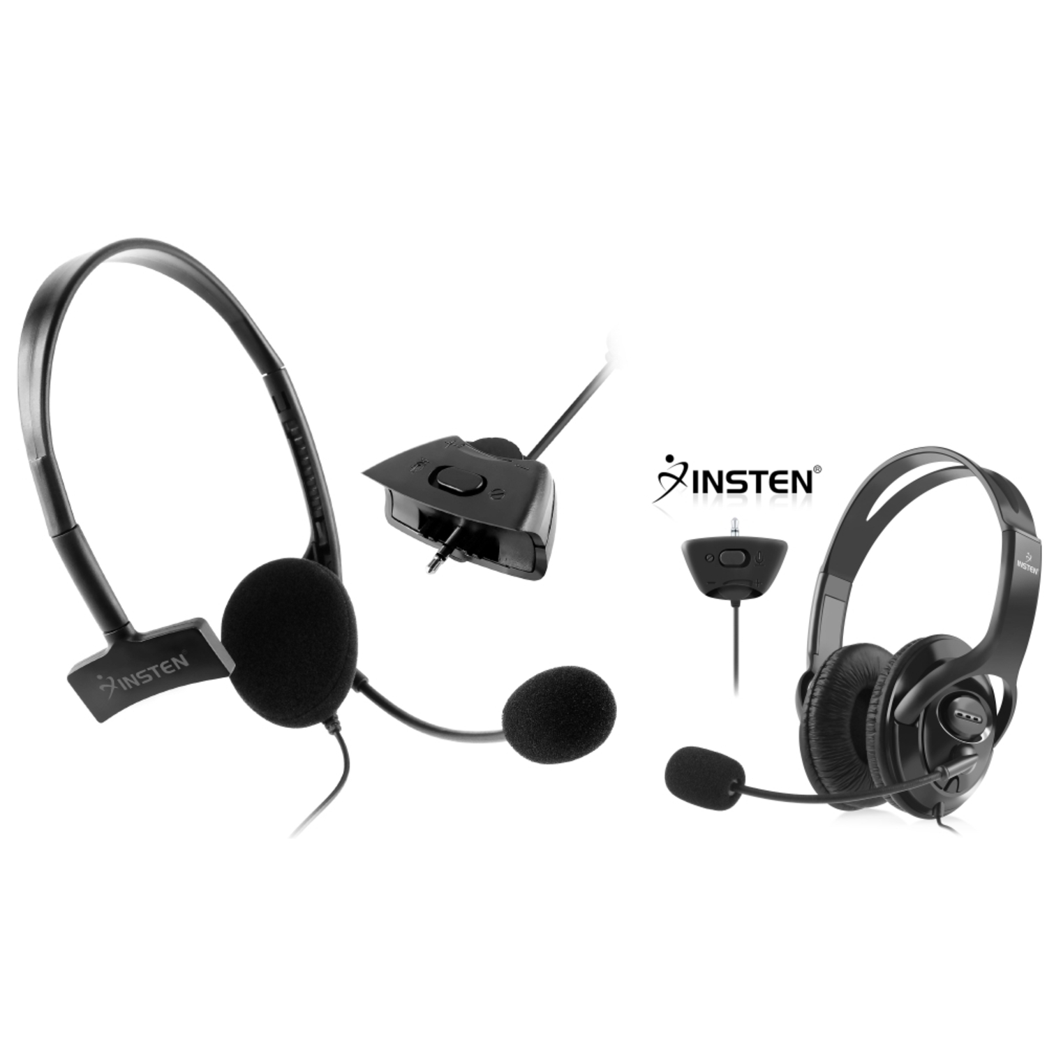 Insten 2-pack Live Gaming Headset Earphone with Microphone MIC for Microsoft Xbox 360 (Big + Small) - Black