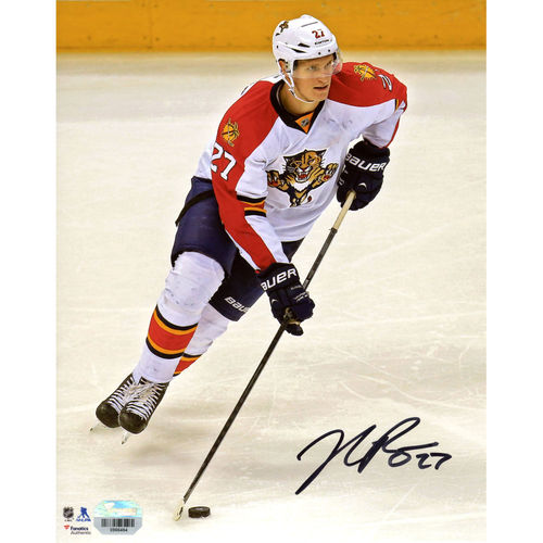 """Nick Bjugstad Florida Panthers Fanatics Authentic Autographed 8"""" x 10"""" White Jersey Vertical With Puck Photograph - No Size"""