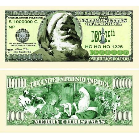 "5 Classic Santa Million Dollar Bills with Bonus ""Thanks a Million"" Gift Card Set - Five Dollar Gift Certificate"