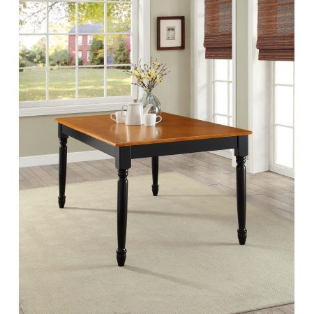 Better Homes and Gardens Autumn Lane Farmhouse Dining Table | Black and Oak- Easy to - Oak Farm Table
