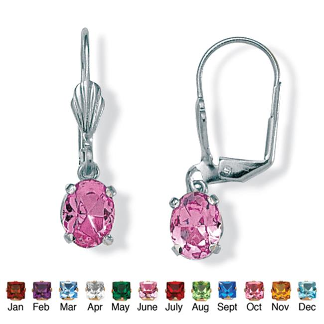 PalmBeach Jewelry 4785106 Oval-Cut Simulated Birthstone Silvertone Metal Drop Earrings June - Simulated Alexandrite