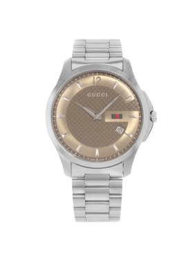 Pre-Owned Gucci G-Timeless YA126310 Brown Dial Stainless Steel Quartz Mens Watch