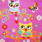 Ladole Rugs Adorable Cute Durable Soft Modern Moda Collection Kids Area Rug Carpet with Owl Pink, 4x6