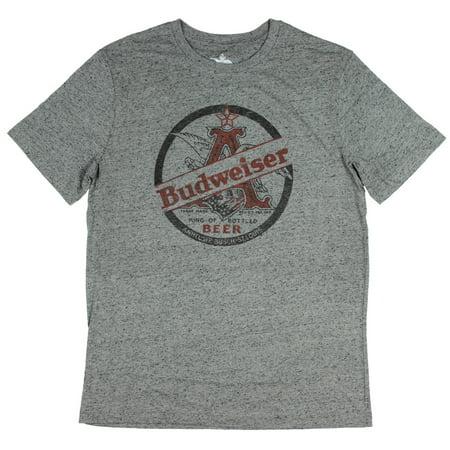Budweiser Anheuser Busch Mens King Of Bottled Beer Speckled T Shirt