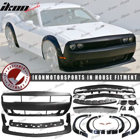 Fits 08-14 Dodge Challenger to Demon Conversion Front Bumper + Fender Flares (Dodge Challenger Wide Body Kit For Sale)