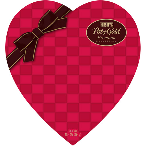 Hershey's Pot of Gold Premium Collection Checkered Pattern Heart Box Premium Collection, 10.4 oz