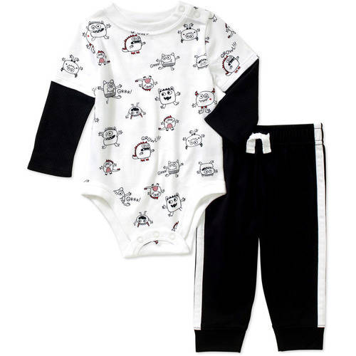 Garanimals Newborn Baby Boy Hangdown Print Bodysuit and Taped Jersey Joggers Pants 2-Piece Outfit Set
