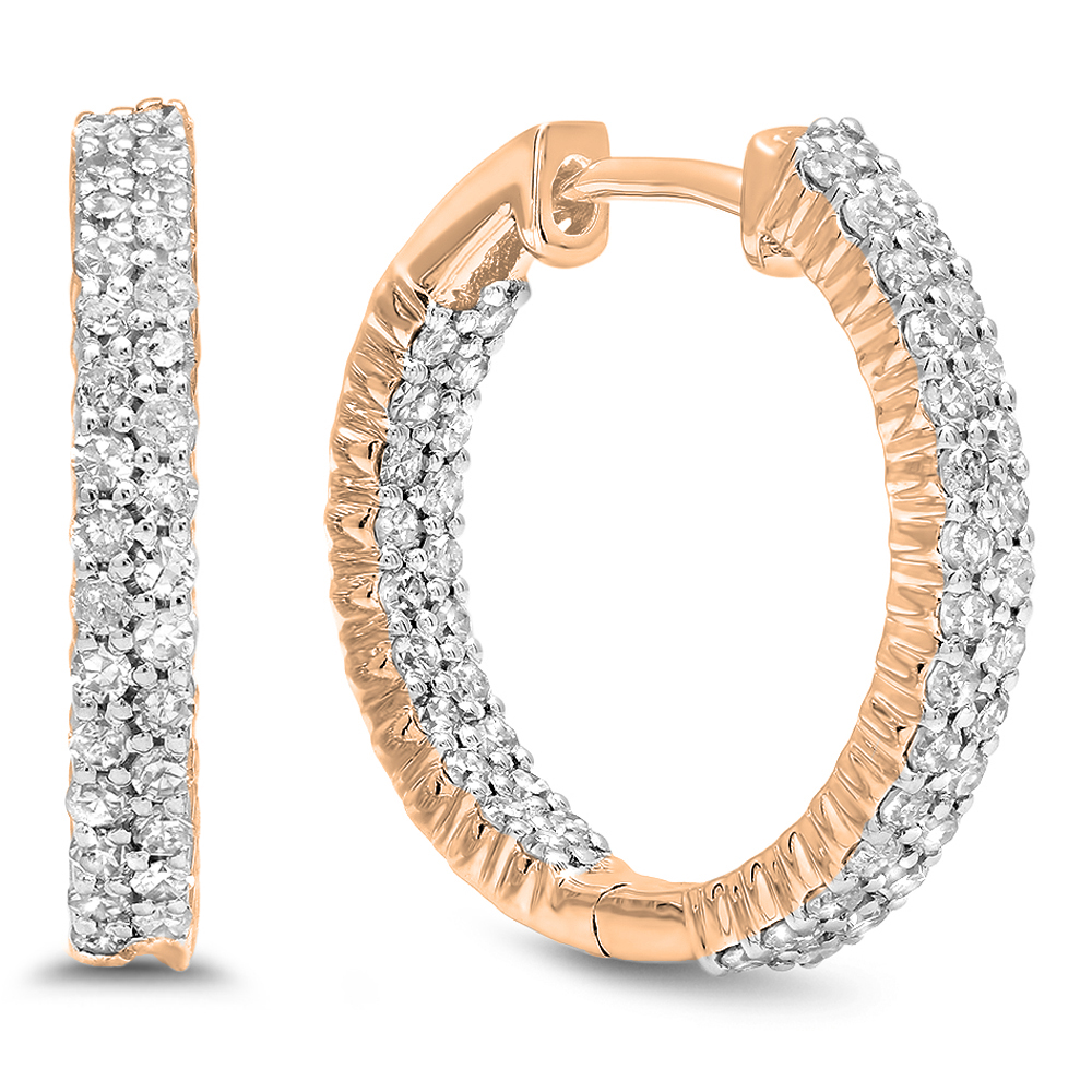 0.80 Carat (ctw) 10K Rose Gold Round White Diamond Fine In And Out Huggies Hoop Earrings 3/4 CT