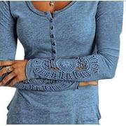DYMADE Women's Lace Long Crochet Sleeve Henley Shirt Tunic Tops Casual T Shirt