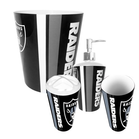 Oakland raiders nfl complete bathroom accessories 4pc set for Bathroom accessories at walmart