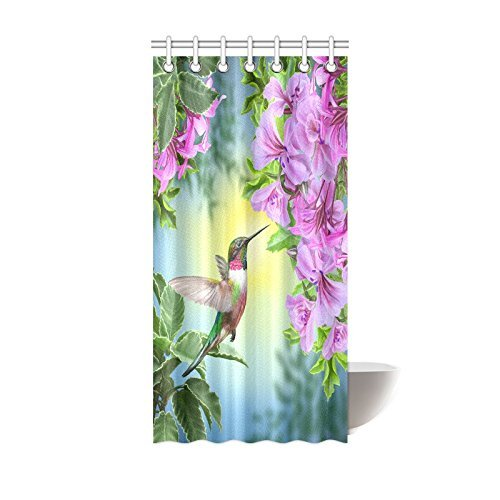 GCKG Hummingbirds Shower Curtain Art With Colibri Bird And Tree Branch Fuchsia Flower Romantic Springtime Tropics Nature Bathroom Set 36x72 Inches