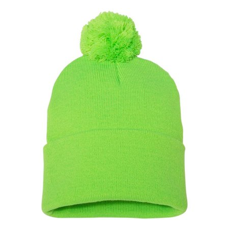Couver - Couver 12 inch 100% Knit Acrylic Winter Beanie Hat with Pom Pom  Warm Skull Cap for Man Women 1PC - (Neon Green) - Walmart.com 30451a039bf