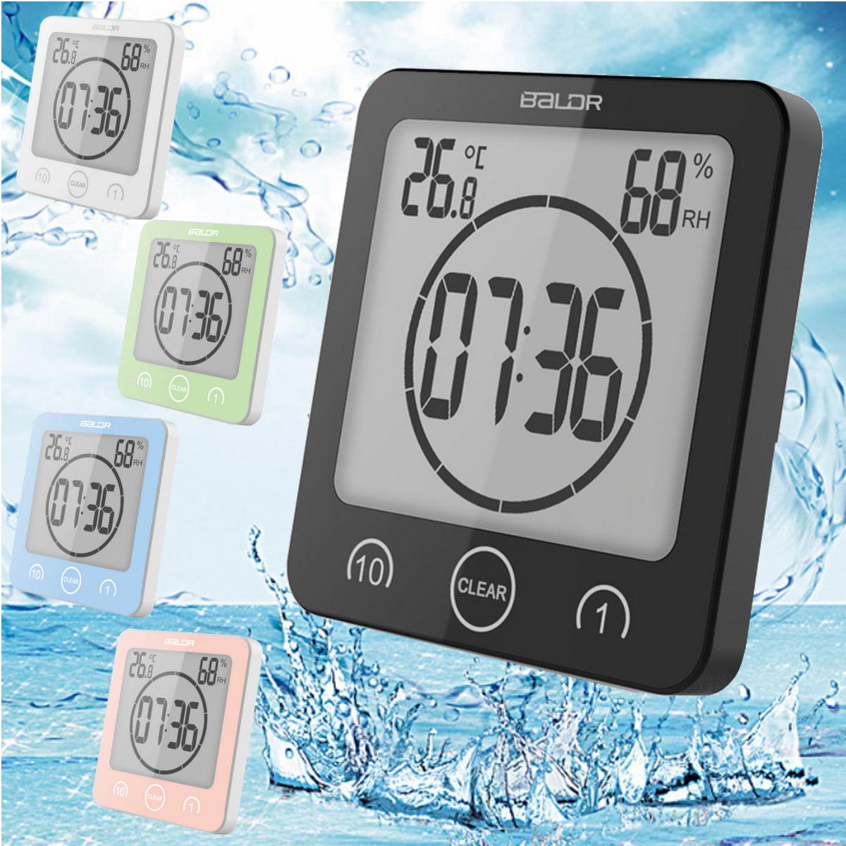 Digital Shower Clock Timer Alarm Temperature Meter Humidity Bathroom Waterproof