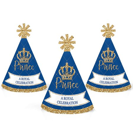 Royal Prince Charming - Mini Cone Baby Shower or Birthday Party Hats - Small Little Party Hats - Set of 10 (Baby Birthday Hat)
