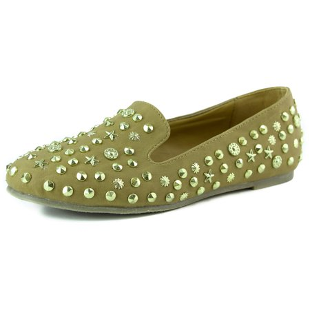 Nature Breeze Leila-14 Camel Brown Star Spiked Loafers, Brown, 8.5 B(M) US