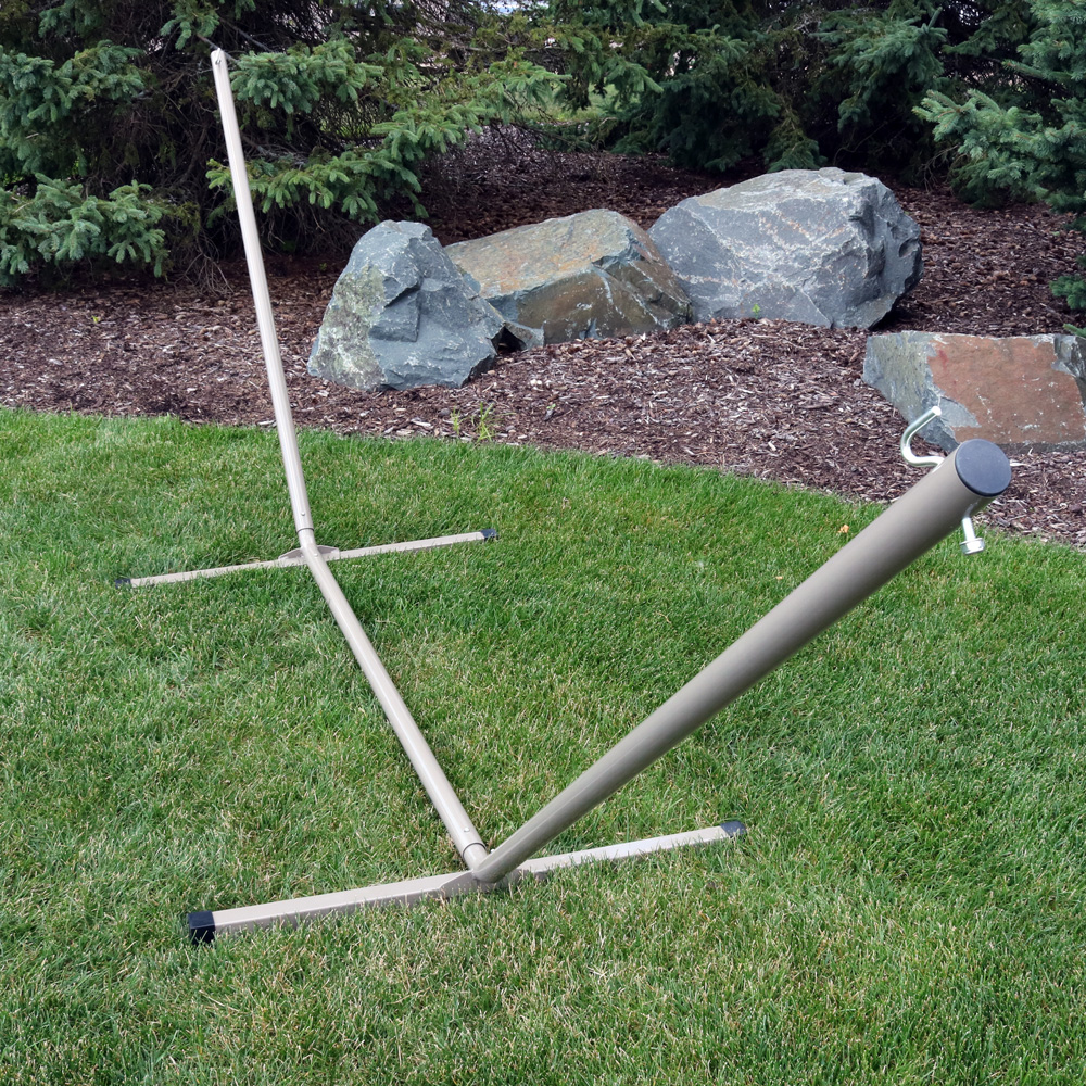 sunnydaze 12 foot hammock stand with heavy duty steel beam construction 2 person 350 pound capacity beige   walmart   sunnydaze 12 foot hammock stand with heavy duty steel beam      rh   walmart