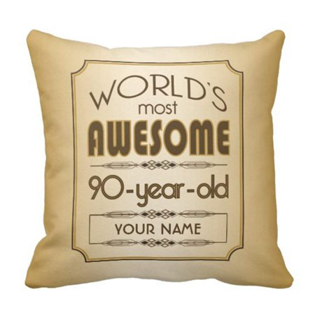 BPBOP Brown Years Gold 90Th Birthday Celebration World Best Old Pillowcase Cushion Cover 18x18