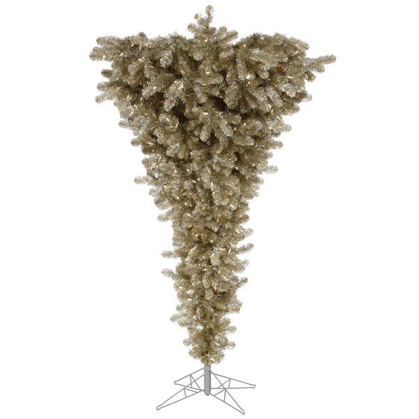 "Vickerman 306567 - 9 'x 78"" Champagne Upside Down 1,000 Warm White Italian LED Lights Christmas Tree (A107781LED)"