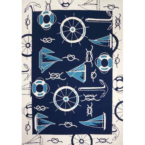 Homefires Nautical Blue/Beige Indoor/Outdoor Area Rug