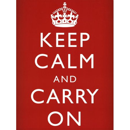 Keep Calm and Carry On (Motivational, Red) Art Poster Print Poster -