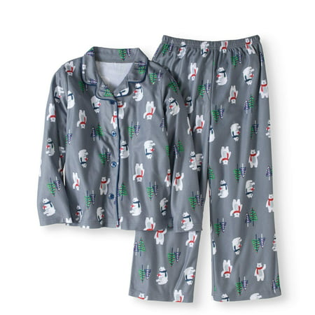 Unisex Boys or Girls Holiday Family Polar Bear Sleep Notch Collar 2 Piece Set