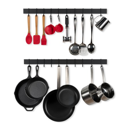 Wallniture Wall Mount Pot and Pan Storage Bar Rack Kitchen Organizer Hanging Utensils Rack and Entryway Coat Rack - 30 Inch - 20 S Hooks - Black - Set of 2
