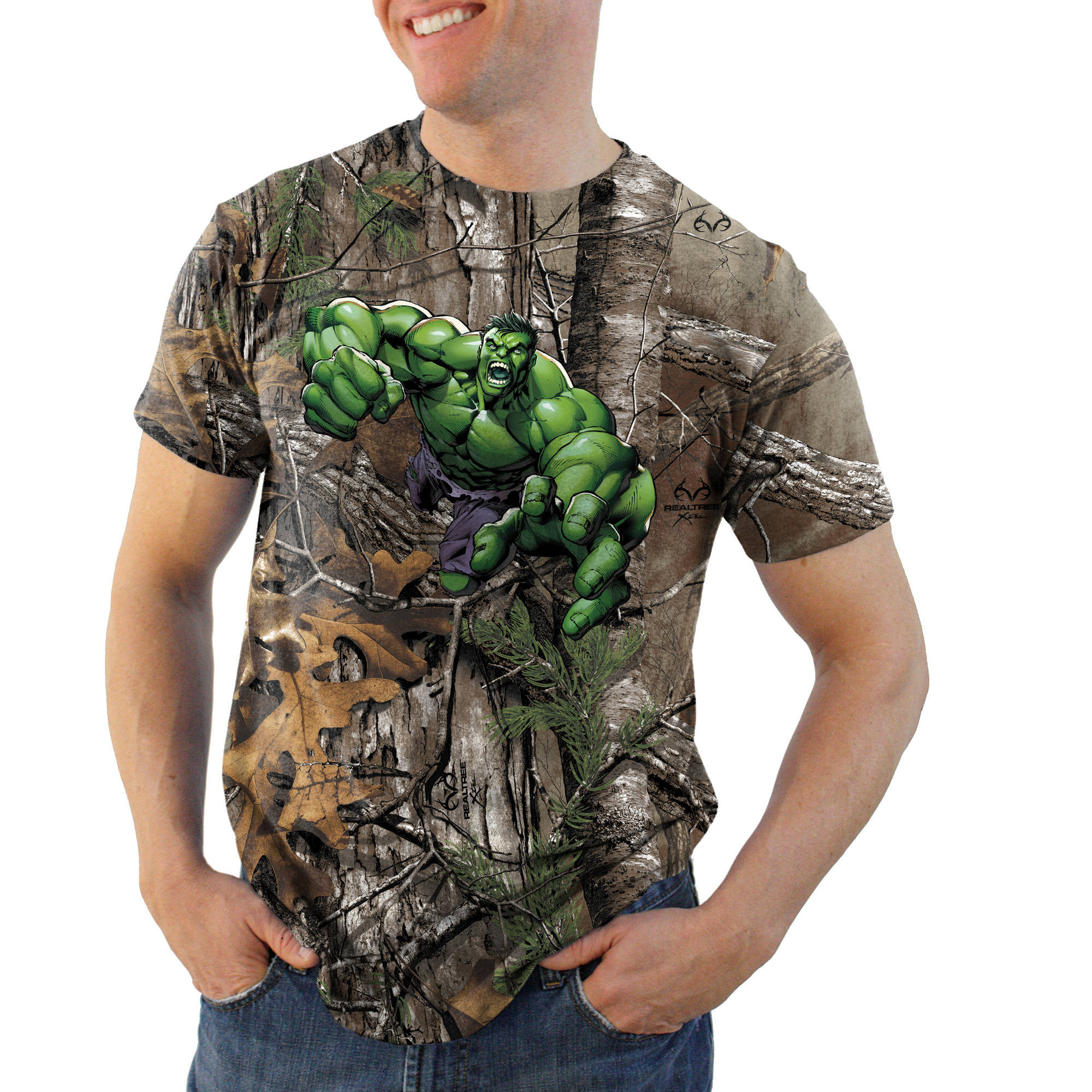 Hulk Featured Realtree Camo Big Men's Graphic Tee, 2XL