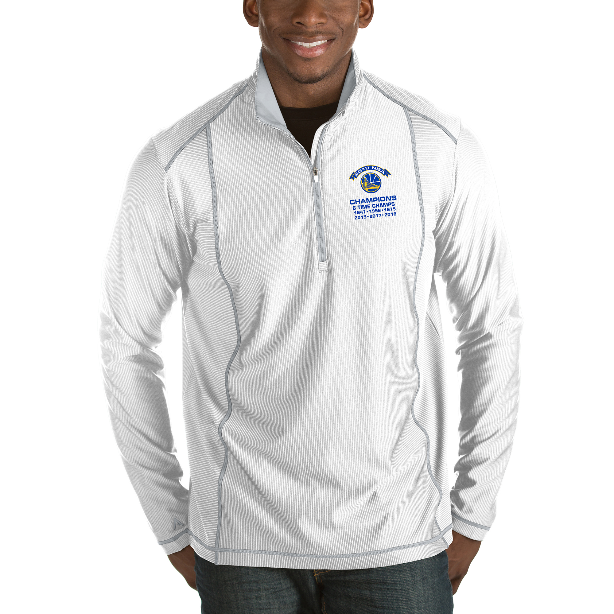 Golden State Warriors Antigua 2018 NBA Finals Champions Tempo Half-Zip Pullover Jacket - White