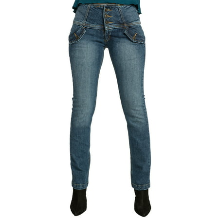 Sweet Vibes Womens Jeans Stretch Denim High Waist Flap Pockets Wide