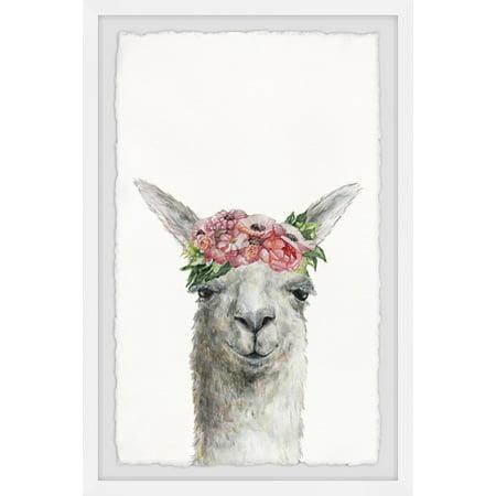 Marmont Hill Sleepy Flower Crowned Llama Framed Wall Art - Flower Hill Mall Halloween
