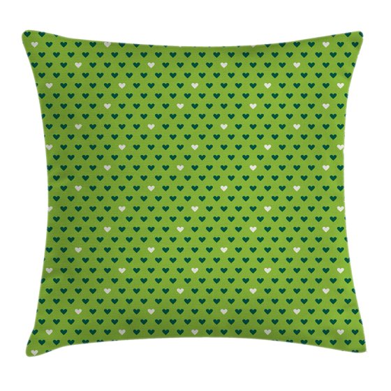 Small Green Throw Pillow : Green Throw Pillow Cushion Cover, Cute Small Heart Shapes Vibrant Color Celebratory Fun Pattern ...